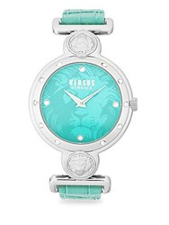 Versus By Versace Swarovski Crystal Studded Teal Dial Leather Strap Watch Silver