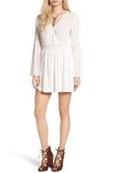 Fire Women's Surplice Bell Sleeve Dress Ivory