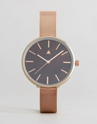 Asos Rose Gold Mesh Strap Watch With Chocolate Dial Rose Gold Copper