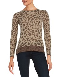 Ply Cashmere Crewneck Leopard Print Pullover Brown Combo