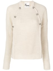 8Pm Button Up Knit Pullover Wool Alpaca Polyacrylic M Nude Neutrals