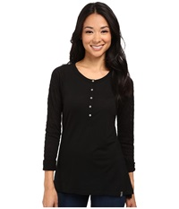 Smartwool Burnout Henley L S Top Black Women's Long Sleeve Pullover
