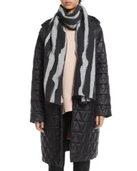 Eileen Fisher Chevron Quilted Hooded Long Coat Petite Black