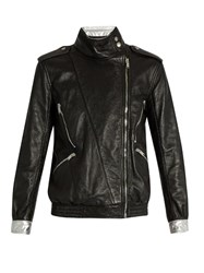 Saint Laurent Contrast Trim Leather Jacket Black
