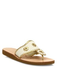 Jack Rogers Boating Metallic Whipstitch Canvas Slides Bright Pink Gold