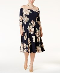 Soprano Trendy Plus Size Off The Shoulder Midi Dress Navy Floral