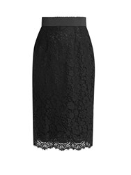 Dolce And Gabbana Cordonetto Lace Pencil Skirt Black