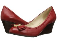 Cole Haan Tali Grand Bow Wedge 65 Tango Red Leather Women's Wedge Shoes