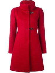 Fay High Neck Fitted Coat Red
