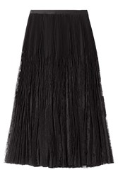Alexander Mcqueen Pleated Midi Skirt With Sheer Lace Inserts Black