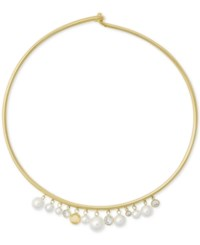 Michael Kors Gold Tone Cubic Zirconia And Imitation Pearl Hinged Choker Necklace