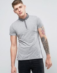 Brave Soul Contrast Chambray Collar Polo Light Grey