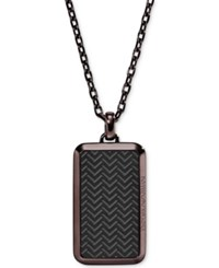 Armani Exchange Emporio Men's Two Tone Textured Dog Tag Pendant Necklace Egs2251 Brown
