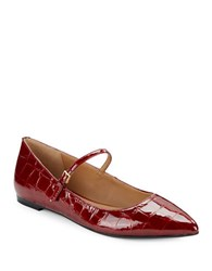 Calvin Klein Gracy Patent Leather Point Toe Mary Janes Garnet