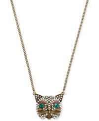 Betsey Johnson Gold Tone Embellished Cat Pendant Necklace