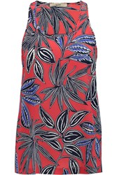 Etro Printed Silk Crepe Tank Red