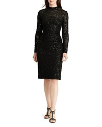 Ralph Lauren Sequin Lace Dress Black Black Shine