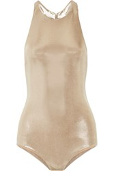 Halston Heritage Anjelica Open Back Stretch Lame Bodysuit Gold
