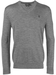 Polo Ralph Lauren Classic V Neck Sweater Grey