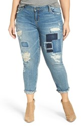 Slink Jeans Plus Size Women's Destroyed And Patched Boyfriend