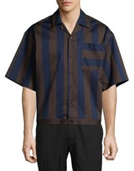 Carlos Campos Short Sleeve Button Down Striped Shirt Navy