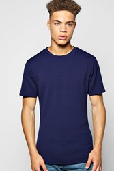 Boohoo Texture Muscle Fit T Shirt Navy