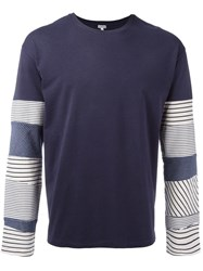 Loewe Long Sleeved Patchwork T Shirt Blue