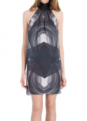 Leon Max Digitally Printed Silk Charmeuse Halter Dress