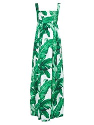 Dolce And Gabbana Banana Leaf Print Gown Green Multi