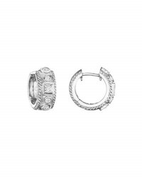 Penny Preville 18K White Gold Round And Square Diamond Huggie Earrings