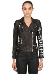 S.W.O.R.D. 6.6.44 Hand Painted Leather Biker Jacket Black