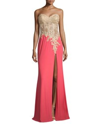 La Femme Strapless Sheer Bodice Combo Gown Hot Coral