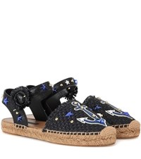 Dolce And Gabbana Embellished Raffia Espadrilles Black