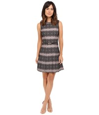 Jessica Simpson Bonded Stripe Lace Dress Black Shell Pink Women's Dress White