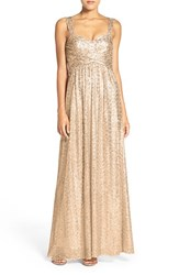 Amsale Women's 'Loire' Sweetheart Neck Sequin Gown Gold