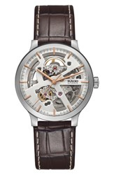 Rado Men's Centrix Open Heart Automatic Leather Strap Watch 38Mm Brown Rose Gold Silver