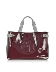 Armani Jeans Handbags Large Burgundy Taupe And Light Gray Faux Patent Leather Tote Bag