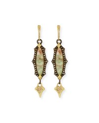 Armenta Old World Scalloped Aquaprase Cabochon Earrings With Diamonds Yellow Black