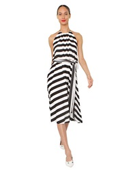 Isaac Mizrahi Striped Halter Dress Black White