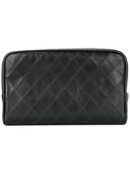 Chanel Vintage Cosmos Line Quilted Cc Cosmetic Bag Black