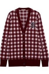 Christopher Kane Gingham Wool And Cashmere Blend Cardigan Burgundy