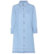 J Brand Bacall Cotton And Linen Shirt Dress Blue