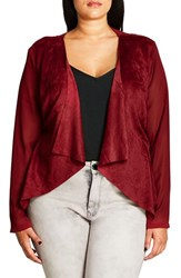 City Chic Plus Size Women's Sheer Sleeve Faux Suede Jacket Ruby