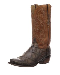 Lucchese Rio Gator Leather Western Cowboy Boots Brown
