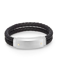 Lotus Stainless Steel And Leather Double Cord Bracelet Black