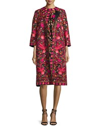 Naeem Khan Petite Embroidered Silk 3 4 Sleeve Coat Red Black Multi Women's Red Black Multi