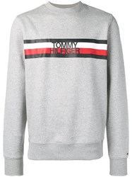 Tommy Hilfiger Striped Logo Sweatshirt Grey