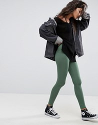 Asos High Waisted Leggings In Khaki Khaki Green
