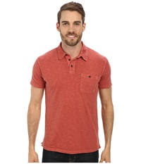 Lucky Brand Malibu Military Polo Sun Dried Red Men's Short Sleeve Pullover Orange