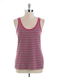 Lord And Taylor Striped Tank Top Grey Yellow Stripe